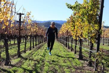 Jennie running in the Winery Field